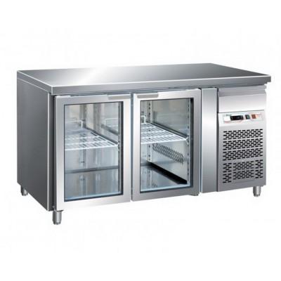 Tavolo Refrigerato 2 Porte in Vetro Temp. - 2° + 8°...