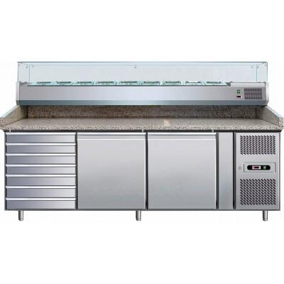 Banco Pizza Refrigerato 2 Porte 60x40 + Cassettiera + VRX38