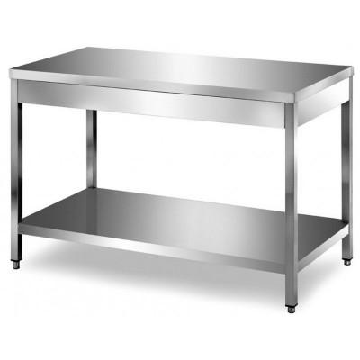 Tavolo in Acciaio Inox con Ripiano cm 100x70x85
